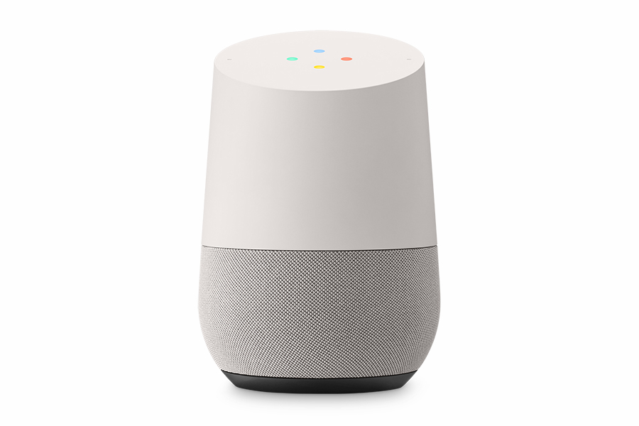 google home vista frontale con led illuminati